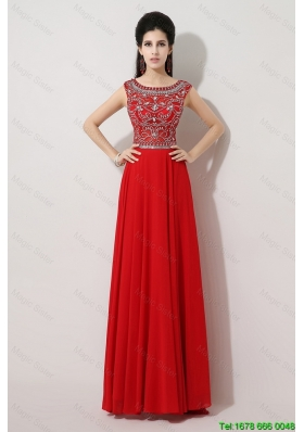 Popular Brush Train Beaded Prom Dresses with Bateau