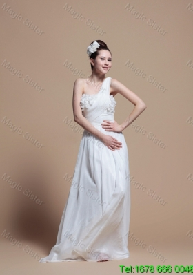 Gorgeous One Shoulder Hand Made Flowers Wedding Dress