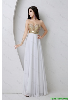 Beautiful Empire Sequined White Prom Dresses with Beading