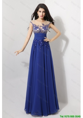 Discount Cap Sleeves Prom Dresses with Appliques and Beading