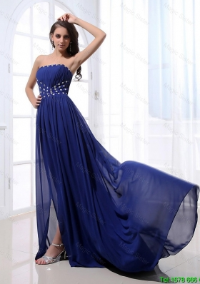 Gorgeous Beading Brush Train Strapless Prom Dresses in Royal Blue