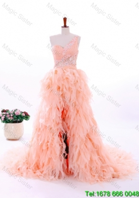 2016 Spring Perfect A Line One Shoulder Ruffles Wedding Gowns in Watermelon Red