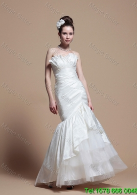 2016 Spring Perfect Mermaid Strapless Wedding Dresses with Brush Train