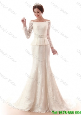 2015 Fall The Super Hot Court Train Lace White Wedding Dresses with Beading