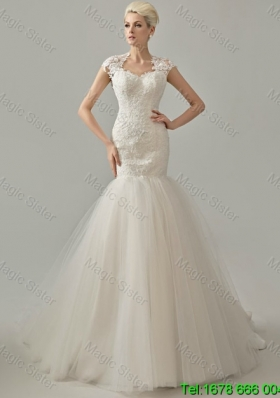 2016 Spring Perfect Mermaid White Long Wedding Dresses with Lace
