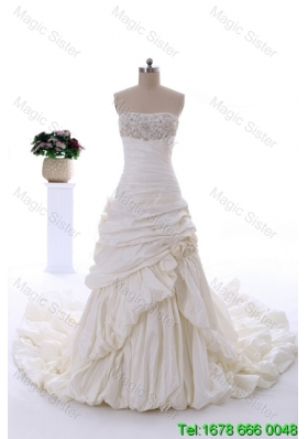2015 Winter Popular Lace A Line Wedding Dresses with Hand Made Flowers