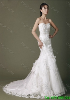 2015 Winter Brand New Beading Lace Wedding Dresses with Court Train