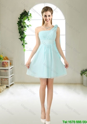 Feminine One Shoulder Hand Made Flowers Bridesmaid Dresses