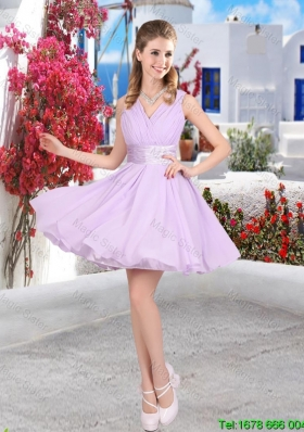 Pretty Mini Length Belt Chiffon Bridesmaid Dresses with V Neck