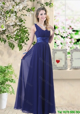 Wonderful Ruched Navy Blue Bridesmaid Dresses with V Neck