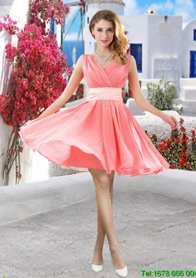 Perfect Short Belt and Ruched Prom Dresses in Watermelon