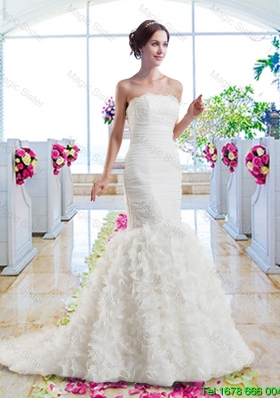 Hot Sale Mermaid Strapless Wedding Dresses with Ruffles