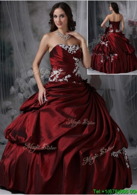 2016 Perfect Strapless Burgundy Custom Make Quinceanera Gowns with Appliques