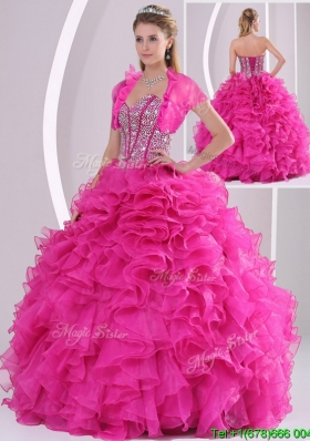 Perfect Ruffles and Beading Fuchsia Sweet 16 Dresses