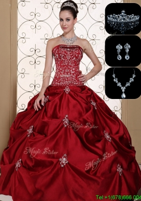 Latest Embroidery Strapless Custom Make Sweet 16 Dresses in Wine Red