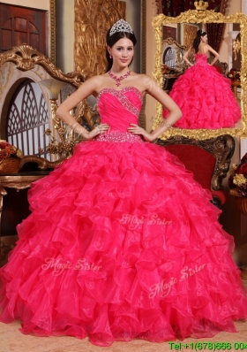 Latest Coral Red Ball Gown Floor Length Custom Make Quinceanera Dresses