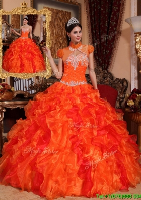 Latest Appliques and Beading Custom Make Quinceanera Dresses in Orange