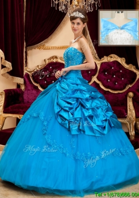 2016 Elegant Strapless Appliques and Beading Quinceanera Gowns