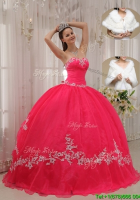 Popular Sweetheart Appliques Quinceanera Gowns in Coral Red