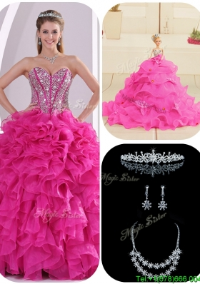 Cheap Ruffles and Beading Fuchsia Quinceanera Gowns