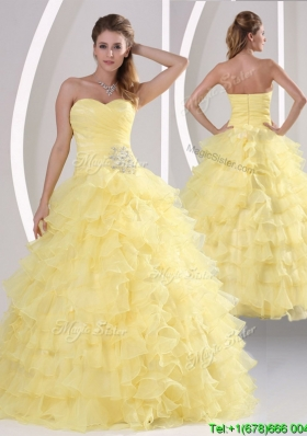Inexpensive Appliques and Ruffled Layers In Stock Quinceanera Dresses