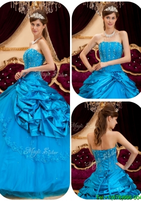 2016 Perfect Teal In Stock Quinceanera Dresses with Appliques and Beading