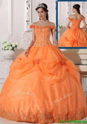 Best Off The Shoulder In Stock Quinceanera Dresses with Appliques and Hand Made Flowers