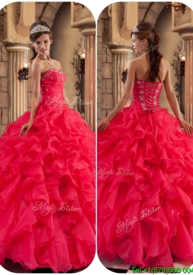 2016 Modest Beading and RufflesPlus Size Quinceanera Dresses in Coral Red
