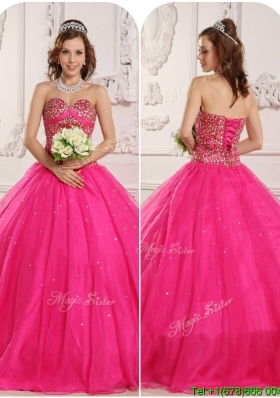 Modern A Line Beading Plus Size Quinceanera Dresses in Hot Pink