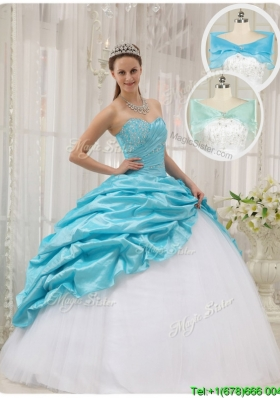 Lovely Ball Gown Sweetheart Plus Size Quinceanera Dresses in Aqua Blue
