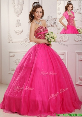 2016 Best Selling A Line Floor Length Quinceanera Dresses in Hot Pink