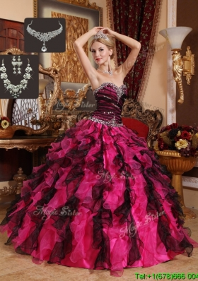 Exquisite Beading and Ruffles Sweetheart Quinceanera Gowns