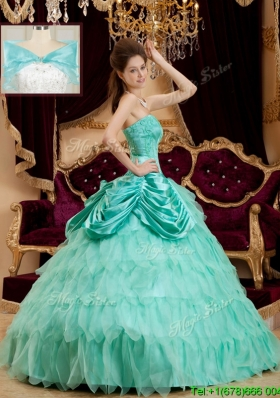2016 Classical Pick Ups and Ruffles Quinceanera Dresses with Strapless