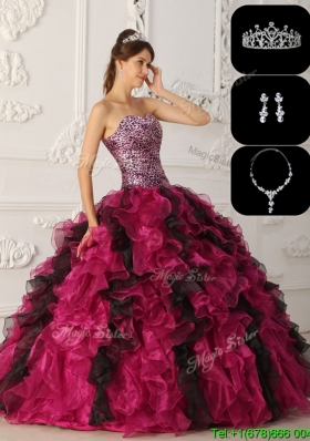 Exquisite Organza RufflesSweet Sixteen Dresses in Multi Color