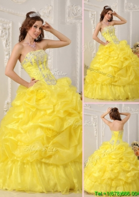 Classical Yellow Sweet Sixteen Dresses with Beading and Ruffles