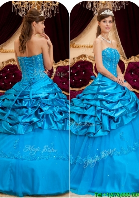 2016 Cheap Strapless Quinceanera Gowns with Appliques and Beading