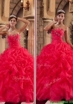 Luxurious Red Sweetheart Sweet Sixteen Dresses with Ruffles