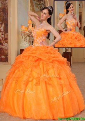 2016 New Arrivals Appliques Sweetheart Quinceanera Dresses in Orange Red