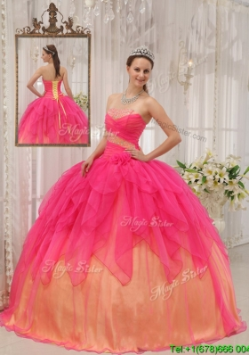 Classical Hot Pink Strapless Sweet Sixteen Dresses with Beading
