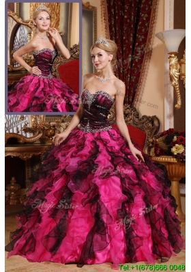 Classical Beading and Ruffles Sweet Sixteen Dresses in Black and Red