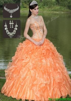 2016 Cheap Orange Sweet Sixteen Dresses with Beading and Ruffles Layered