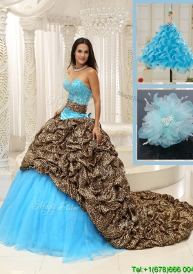 Modern Brush Train Quinceanera Dresses in Multi Color
