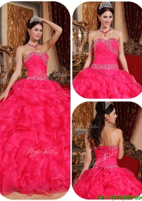 Unique Beautiful Ball Gown Beading Sweet 16 Dresses in Coral Red