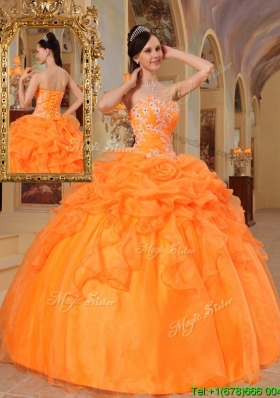 2016 Unique New Style Orange Red Ball Gown Sweetheart Quinceanera Dresses