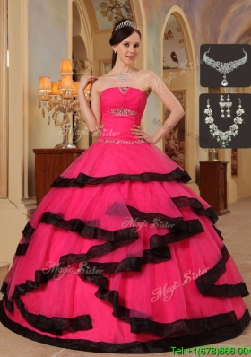 Romantic Appliques Quinceanera Dresses in Red and Black