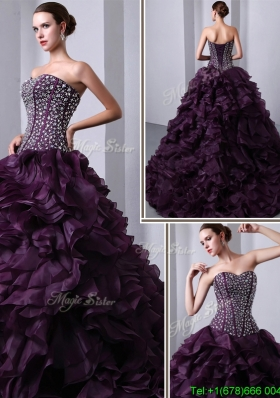Unique Fashionable Sweetheart Beading and Ruffles Quinceanea Dresses with Brush Train