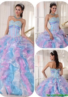 2016 Beautiful Sweetheart Ruffles and Appliques Quinceanera Dresses