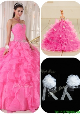 Exquisite Ball Gown Hot Pink Sweet 16 Gowns with Beading