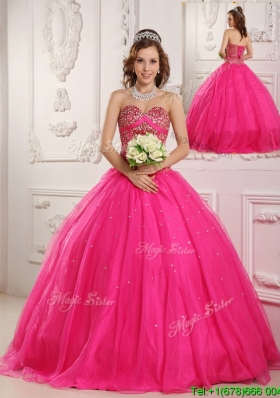 Hot Sale Hot Pink A Line Sweetheart Floor Length Quinceanera Dresses