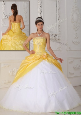 Romantic Ball Gown Appliques and Hand Made Flower Quinceanera Dresses